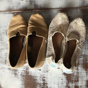 Brown Burlap & White Cream Lace Toms